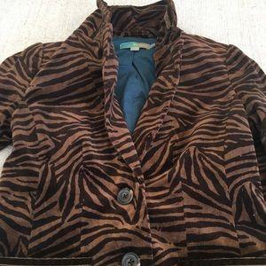 Boden Blazer Jacket Tiger Velvet Brown Black Small